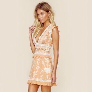 For Love And Lemons Mia floral ruffle mini Dress S
